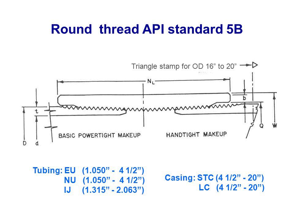 Round thread API standard 5B Tubing: EU (1.050 - 4 1/2 ) NU (1.050 - 4 1/2 ) IJ (1.315 - 2.063 ) Casing: STC (4 1/2 - 20 ) LC (4 1/2 - 20 ) Triangle stamp for OD 16 to 20