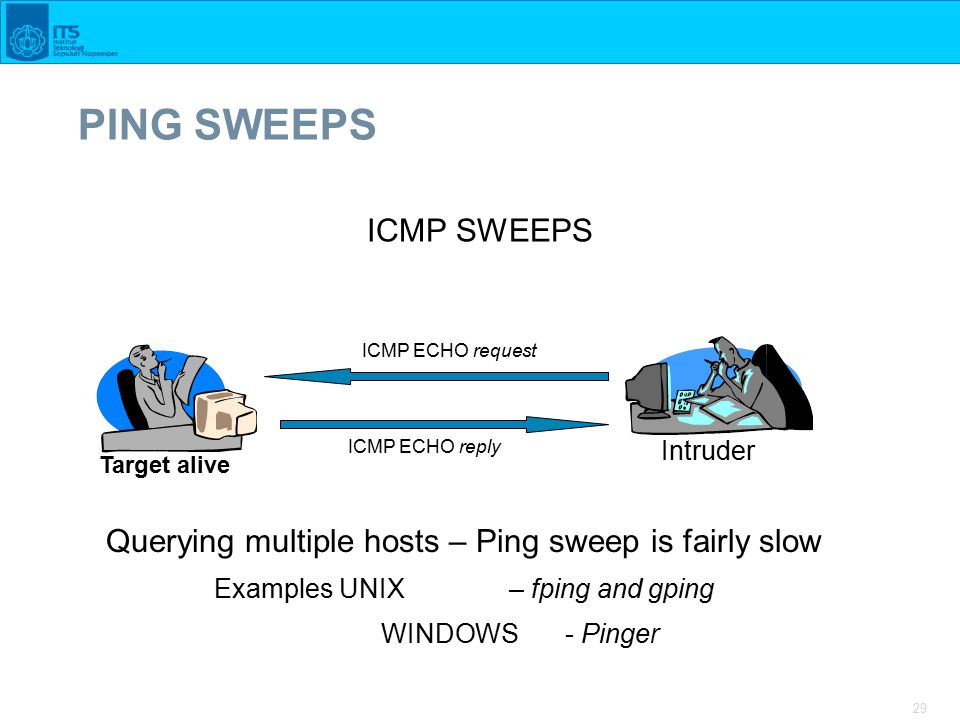 29 PING SWEEPS ICMP SWEEPS ICMP ECHO request ICMP ECHO reply Target alive Intruder Querying multiple hosts – Ping sweep is fairly slow Examples UNIX – fping and gping WINDOWS - Pinger