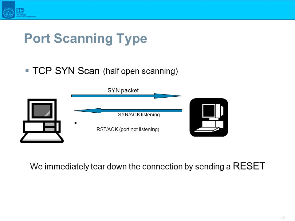 36 Port Scanning Type  TCP SYN Scan (half open scanning) SYN packet SYN/ACK listening RST/ACK (port not listening) We immediately tear down the connection by sending a RESET