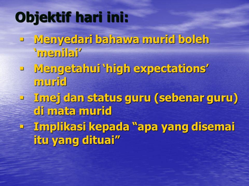 Objektif hari ini:  Menyedari bahawa murid boleh 'menilai'  Mengetahui 'high expectations' murid  Imej dan status guru (sebenar guru) di mata murid  Implikasi kepada apa yang disemai itu yang dituai