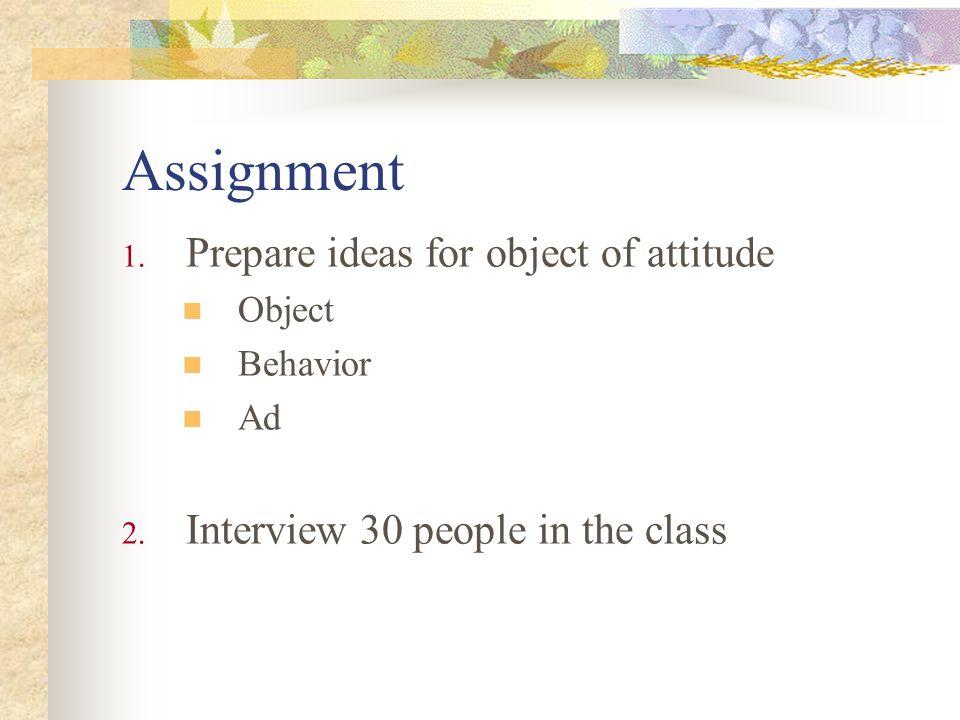 Assignment 1. Prepare ideas for object of attitude Object Behavior Ad 2.