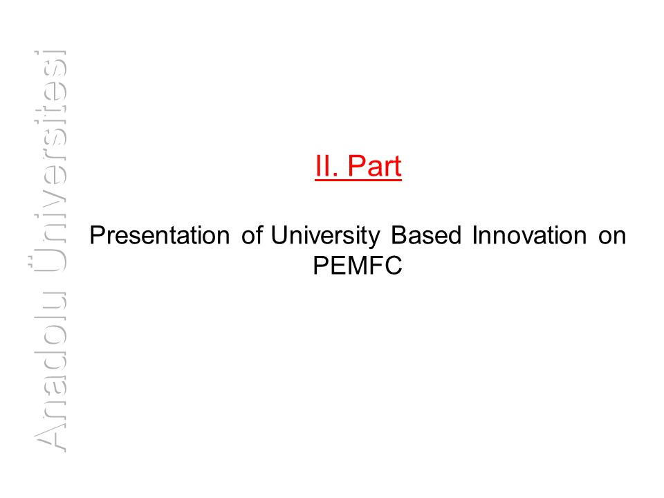 II. Part Presentation of University Based Innovation on PEMFC
