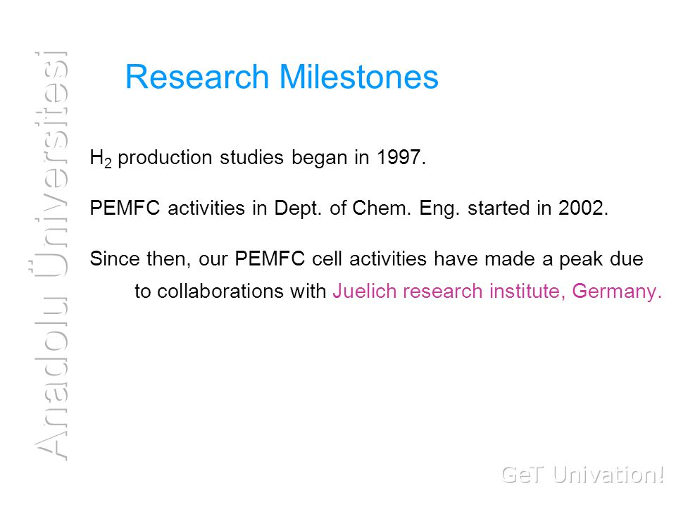 Research Milestones H 2 production studies began in 1997.