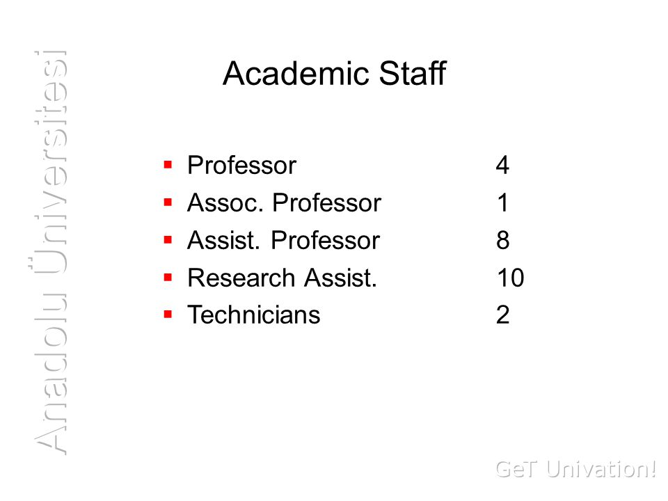 Academic Staff  Professor 4  Assoc. Professor 1  Assist.
