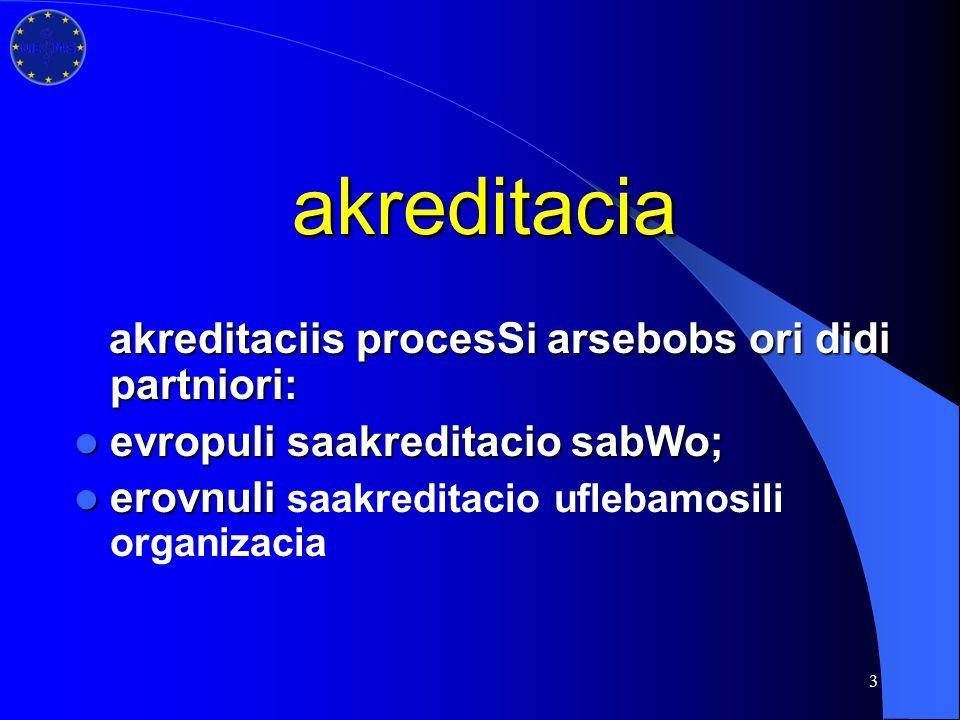 3 akreditacia akreditaciis procesSi arsebobs ori didi partniori: akreditaciis procesSi arsebobs ori didi partniori: evropuli saakreditacio sabWo; evro