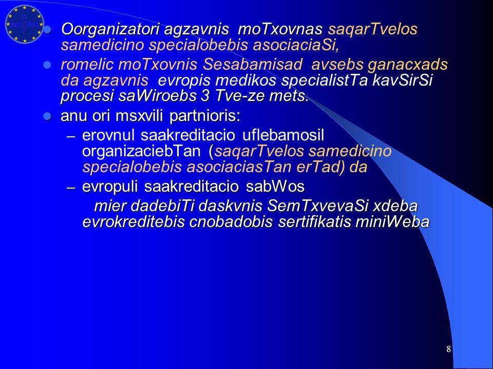 8 Oorganizatori agzavnis moTxovnas Oorganizatori agzavnis moTxovnas saqarTvelos samedicino specialobebis asociaciaSi, procesi saWiroebs 3 Tve-ze mets.