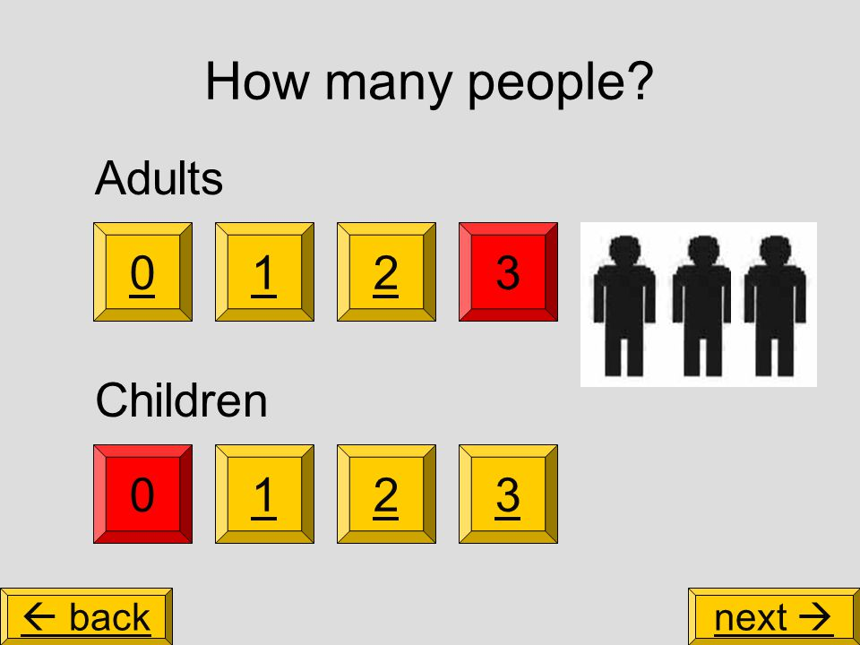 How many people 3 0123 Adults Children 102  backnext 
