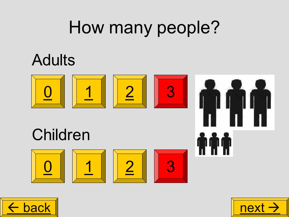 How many people 3 0123 Adults Children 021  backnext 