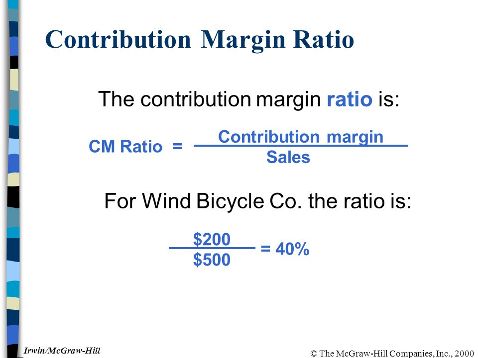 © The McGraw-Hill Companies, Inc., 2000 Irwin/McGraw-Hill Contribution Margin Ratio The contribution margin ratio is: For Wind Bicycle Co.
