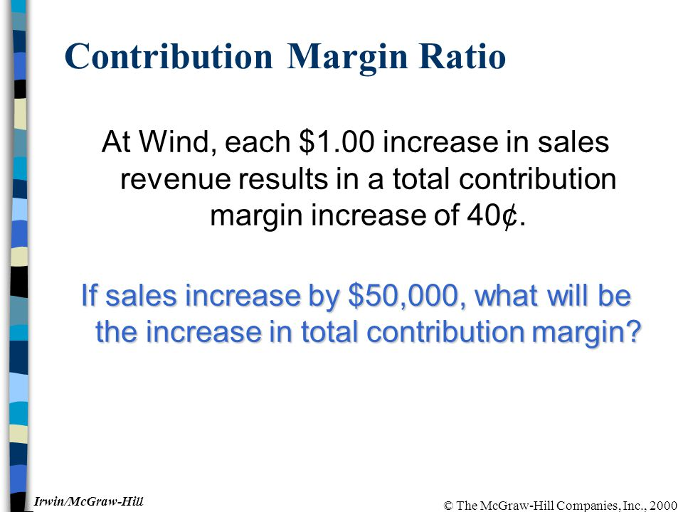 © The McGraw-Hill Companies, Inc., 2000 Irwin/McGraw-Hill Contribution Margin Ratio At Wind, each $1.00 increase in sales revenue results in a total contribution margin increase of 40¢.