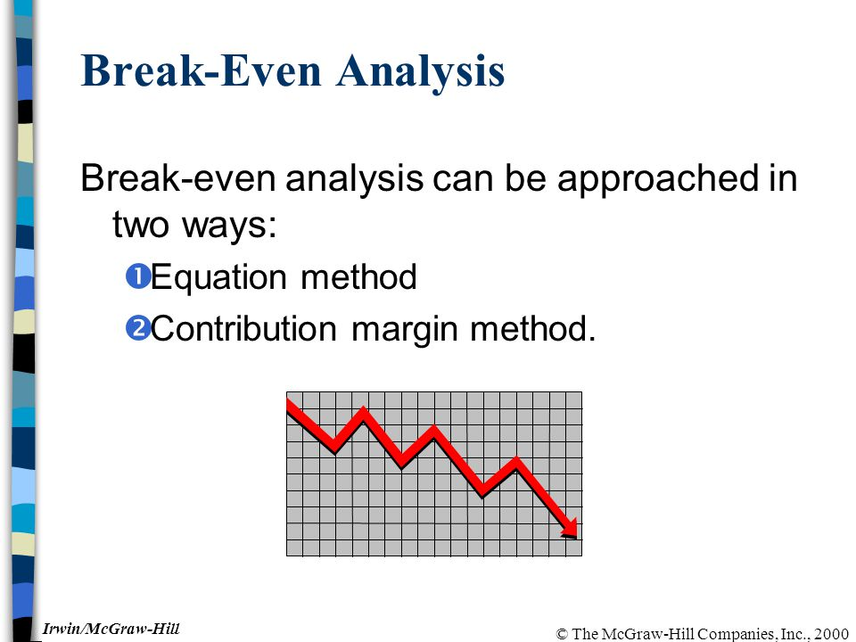 © The McGraw-Hill Companies, Inc., 2000 Irwin/McGraw-Hill Break-Even Analysis Break-even analysis can be approached in two ways:  Equation method  Contribution margin method.