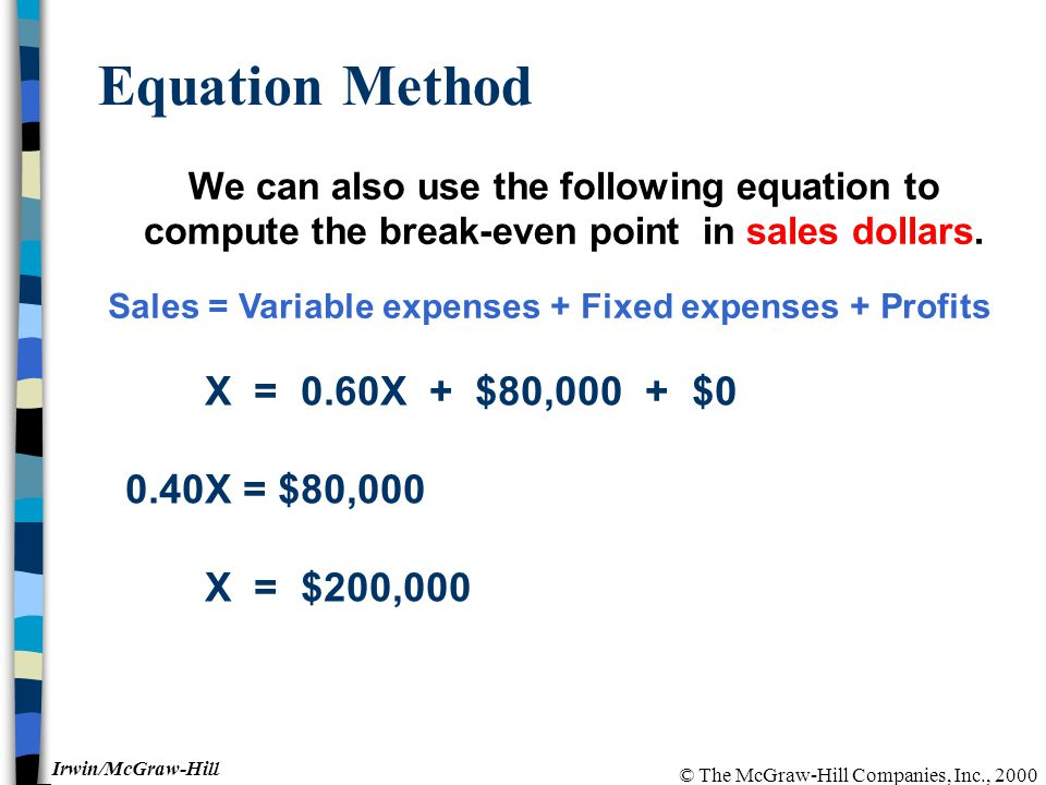 © The McGraw-Hill Companies, Inc., 2000 Irwin/McGraw-Hill Equation Method We can also use the following equation to compute the break-even point in sa