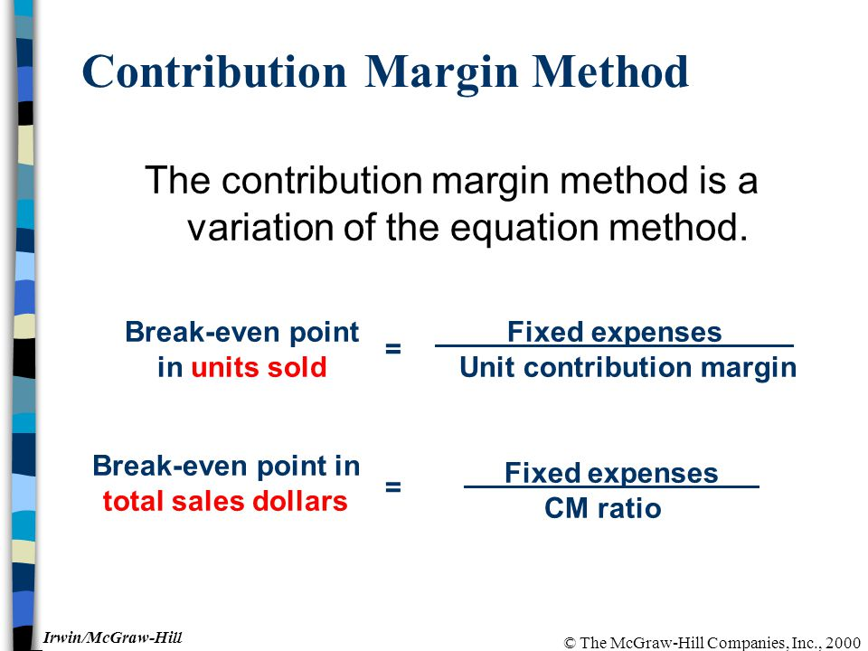 © The McGraw-Hill Companies, Inc., 2000 Irwin/McGraw-Hill Contribution Margin Method The contribution margin method is a variation of the equation method.