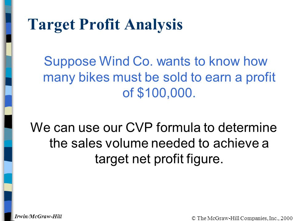 © The McGraw-Hill Companies, Inc., 2000 Irwin/McGraw-Hill Target Profit Analysis Suppose Wind Co.