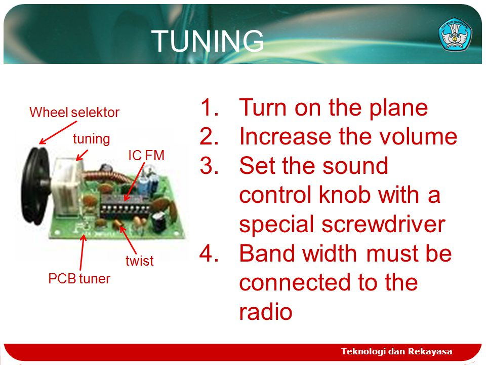 Teknologi dan Rekayasa 1.Turn on the plane 2.Increase the volume 3.Set the sound control knob with a special screwdriver 4.Band width must be connected to the radio TUNING