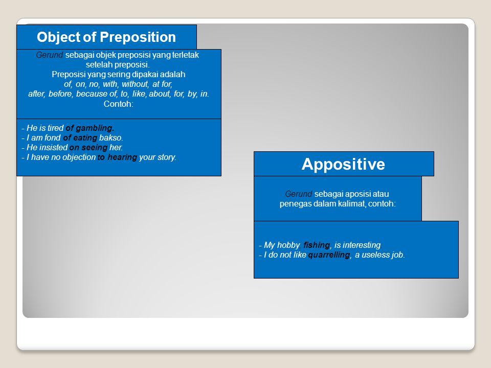 Object of Preposition Gerund sebagai objek preposisi yang terletak setelah preposisi.
