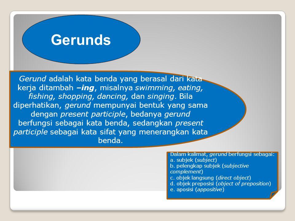 Gerunds Gerund adalah kata benda yang berasal dari kata kerja ditambah –ing, misalnya swimming, eating, fishing, shopping, dancing, dan singing.