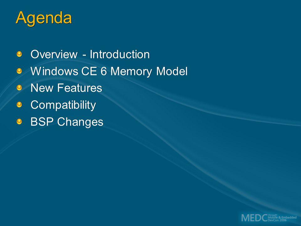 SP1 2.11 SP2 2.12 Jameson 4.1 McKendric 4.2 Tomatin NMD FP Brief History What we've been doing Pegasus/Alder Windows CE 1.0 11/1996 Birch Windows CE 2.0 11/1997 Cedar Windows CE 3.0 4/2000 Talisker Windows CE.NET 4.0 1/2002 Macallan Windows CE 5.0 8/2004 Yamazaki Windows CE 6 H2/2006
