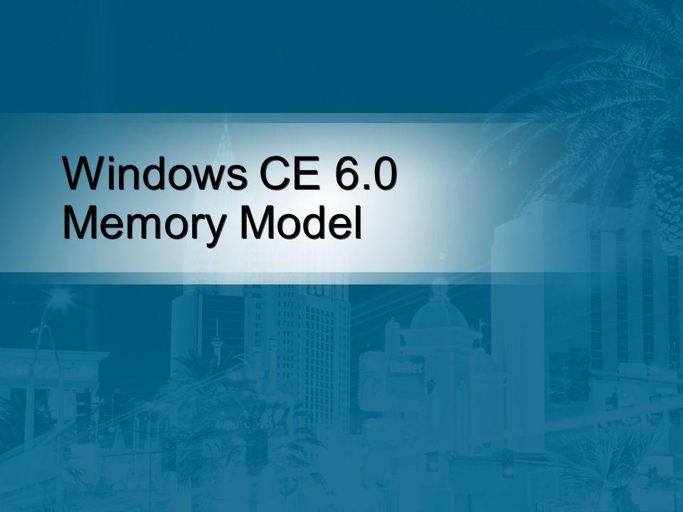 32 K Process 2 GB per Process 2 GB Kernel Space Windows CE Memory Model Process Code User VM Kernel Filesystem GWES Drivers...