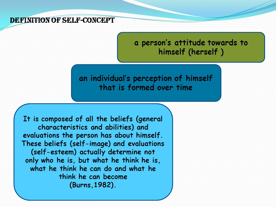 Definition of self-concept a person's attitude towards to himself (herself ) an individual's perception of himself that is formed over time It is comp