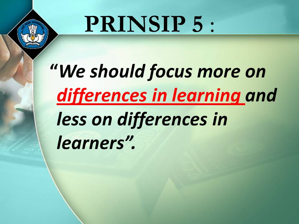 PRINSIP 5 : We should focus more on differences in learning and less on differences in learners .