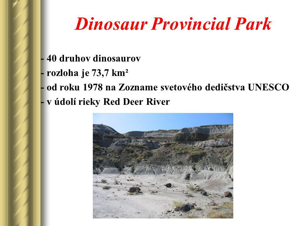 Dinosaur Provincial Park - 40 druhov dinosaurov - rozloha je 73,7 km² - od roku 1978 na Zozname svetového dedičstva UNESCO - v údolí rieky Red Deer River