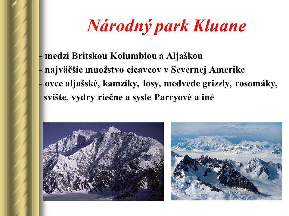 Národný park Kluane - medzi Britskou Kolumbiou a Aljaškou - najväčšie množstvo cicavcov v Severnej Amerike - ovce aljašské, kamzíky, losy, medvede grizzly, rosomáky, svište, vydry riečne a sysle Parryové a iné