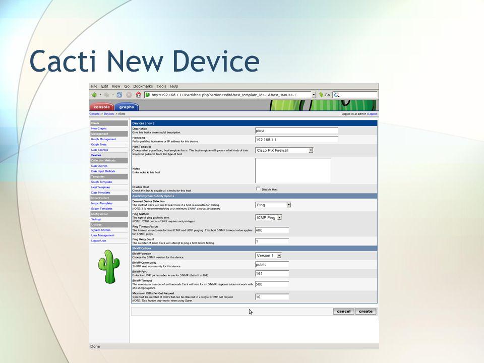 Cacti New Device