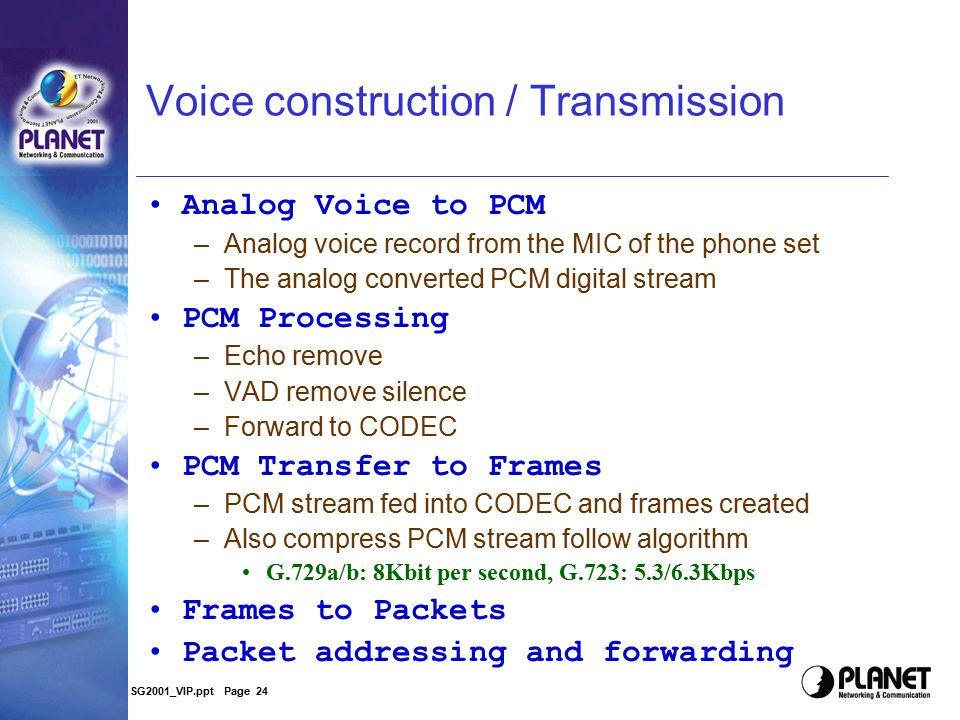 SG2001_VIP.ppt Page 23 Have a deeper look Some Information for understanding the Gateway Voice Construction and transmission Voice quality Issue –Voic