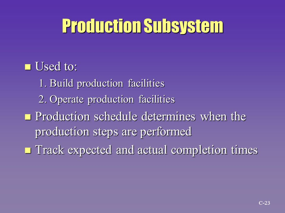 Production Subsystem n Used to: 1. Build production facilities 2.