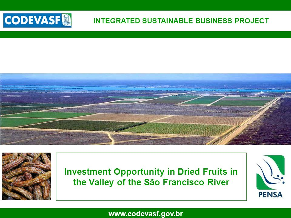 1 www.codevasf.gov.br Investment Opportunity in Dried Fruits in the Valley of the São Francisco River INTEGRATED SUSTAINABLE BUSINESS PROJECT