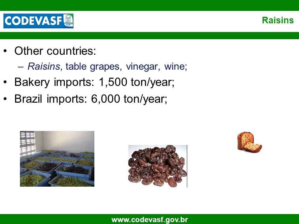 21 www.codevasf.gov.br Raisins Other countries: –Raisins, table grapes, vinegar, wine; Bakery imports: 1,500 ton/year; Brazil imports: 6,000 ton/year;