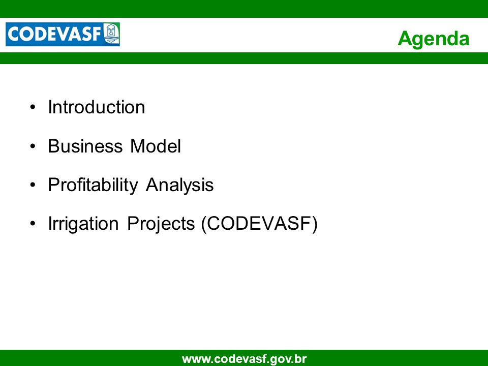 4 www.codevasf.gov.br INTRODUCTION Project Description The project is a governmental initiative, aiming to attract investments to the Valley of the São Francisco River (web page:http://www.fundace.org.br/pins).