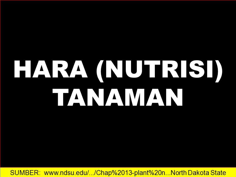 HARA (NUTRISI) TANAMAN SUMBER: www.ndsu.edu/.../Chap%2013-plant%20n...North Dakota State University