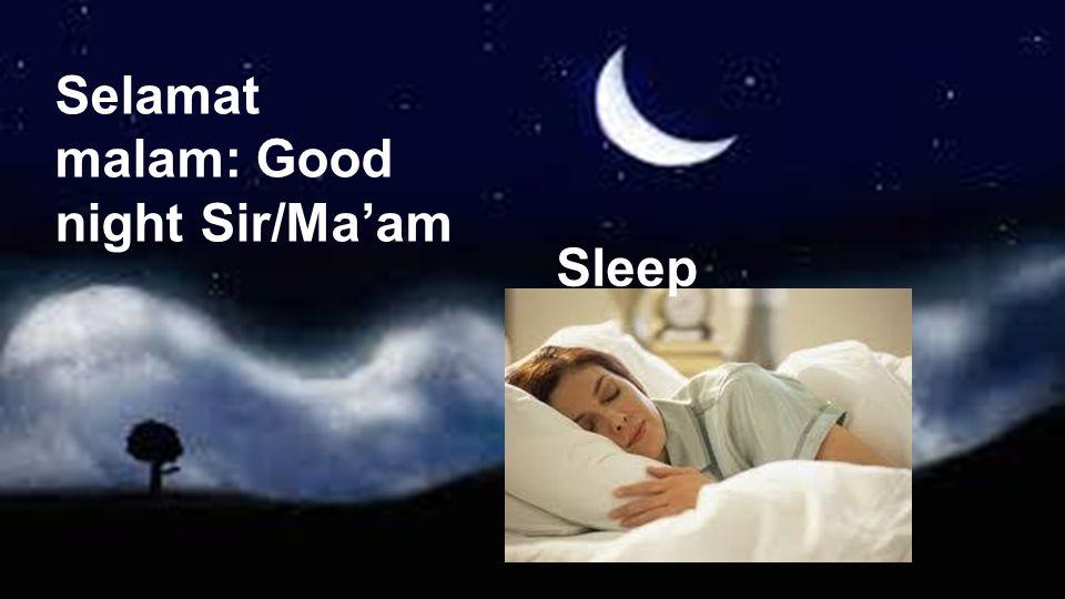 Selamat malam: Good night Sir/Ma'am Sleep