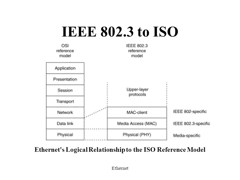 Ethernet IEEE 802.3 to ISO Ethernet s Logical Relationship to the ISO Reference Model