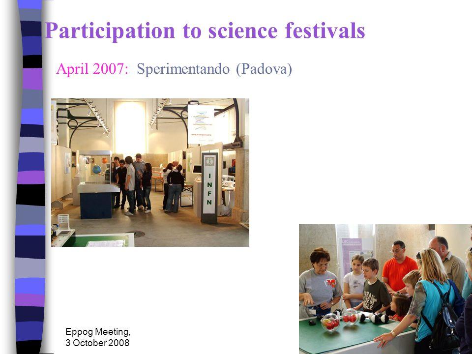 Eppog Meeting, 3 October 2008 Participation to science festivals April 2007: Sperimentando (Padova)