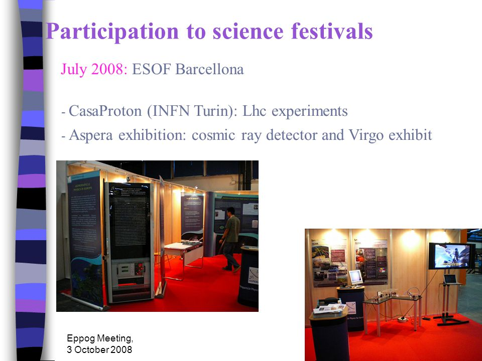 Eppog Meeting, 3 October 2008 Participation to science festivals July 2008: ESOF Barcellona - CasaProton (INFN Turin): Lhc experiments - Aspera exhibition: cosmic ray detector and Virgo exhibit