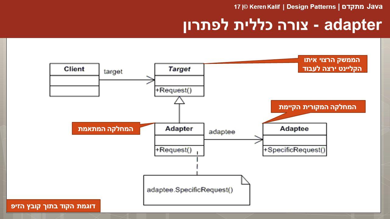 Java מתקדם | Design Patterns | Keren Kalif© | 17 adapter - צורה כללית לפתרון הממשק הרצוי איתו הקליינט ירצה לעבוד המחלקה המקורית הקיימת המחלקה המתאמת דוגמת הקוד בתוך קובץ הזיפ