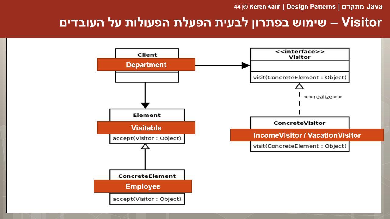 Java מתקדם | Design Patterns | Keren Kalif© | 44 Visitor – שימוש בפתרון לבעית הפעלת הפעולות על העובדים IncomeVisitor / VacationVisitor Visitable Employee Department