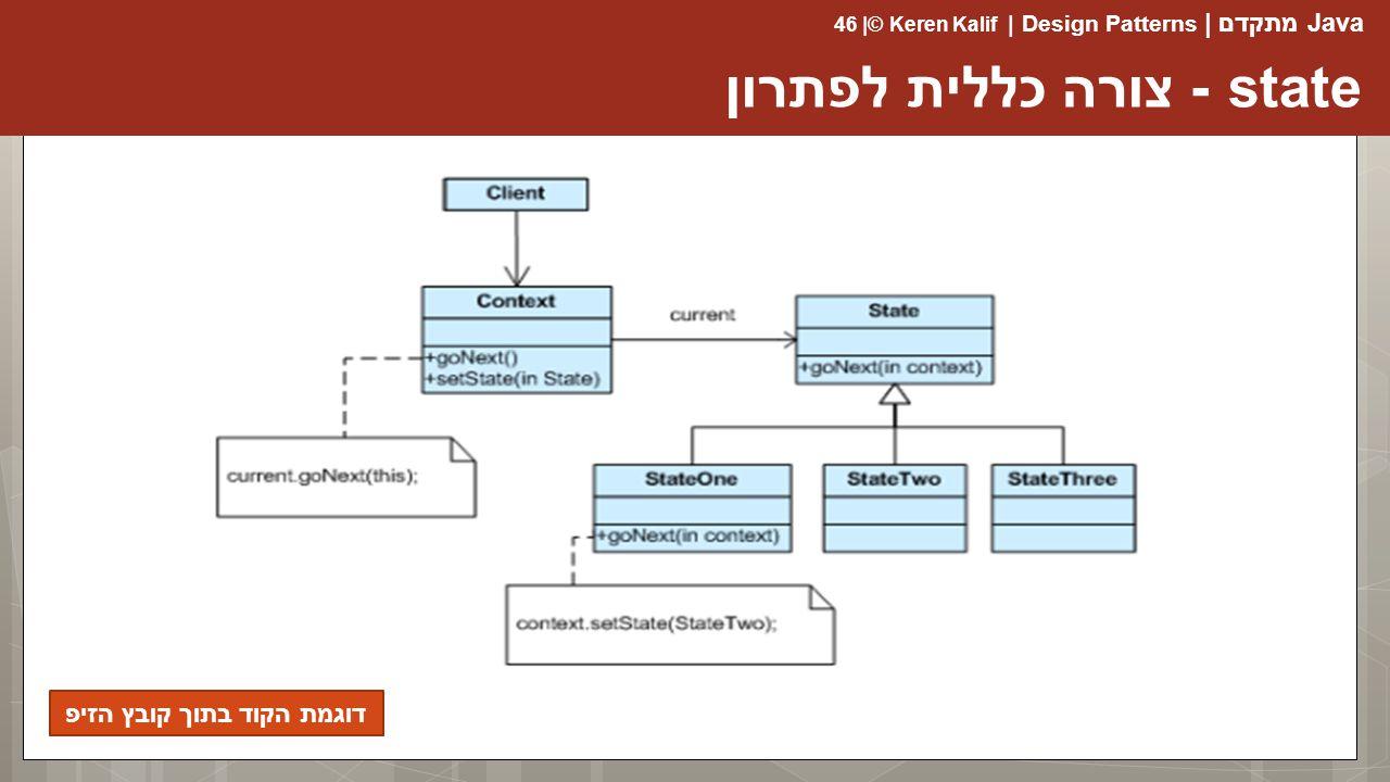 Java מתקדם | Design Patterns | Keren Kalif© | 46 state - צורה כללית לפתרון דוגמת הקוד בתוך קובץ הזיפ