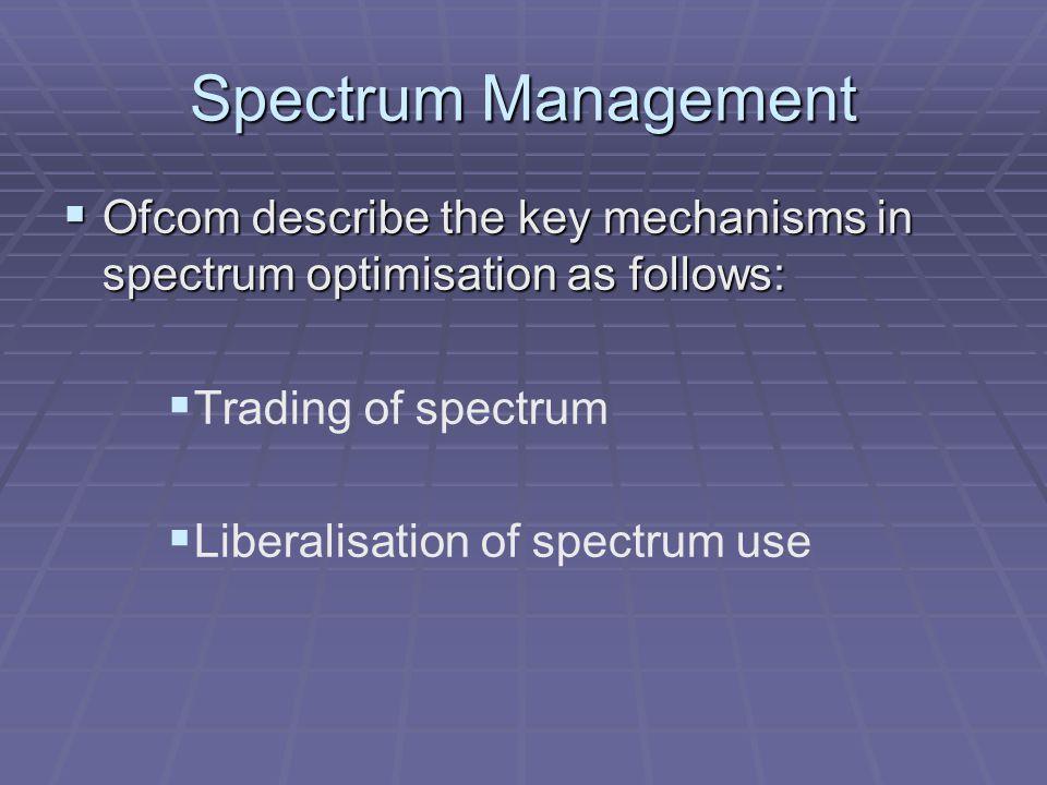 Spectrum Management  Ofcom describe the key mechanisms in spectrum optimisation as follows:   Trading of spectrum   Liberalisation of spectrum use