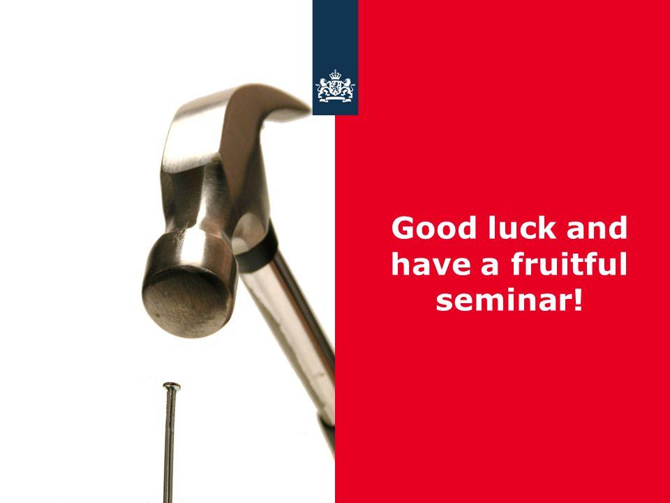 15 april 2015 Ministerie van Economische Zaken Good luck and have a fruitful seminar!