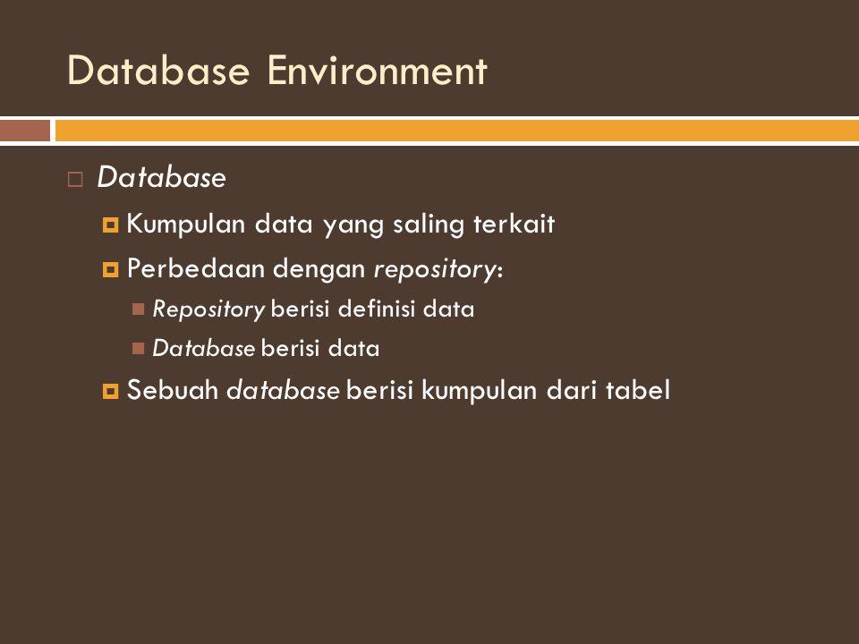 Database Environment  Database  Kumpulan data yang saling terkait  Perbedaan dengan repository: Repository berisi definisi data Database berisi data  Sebuah database berisi kumpulan dari tabel