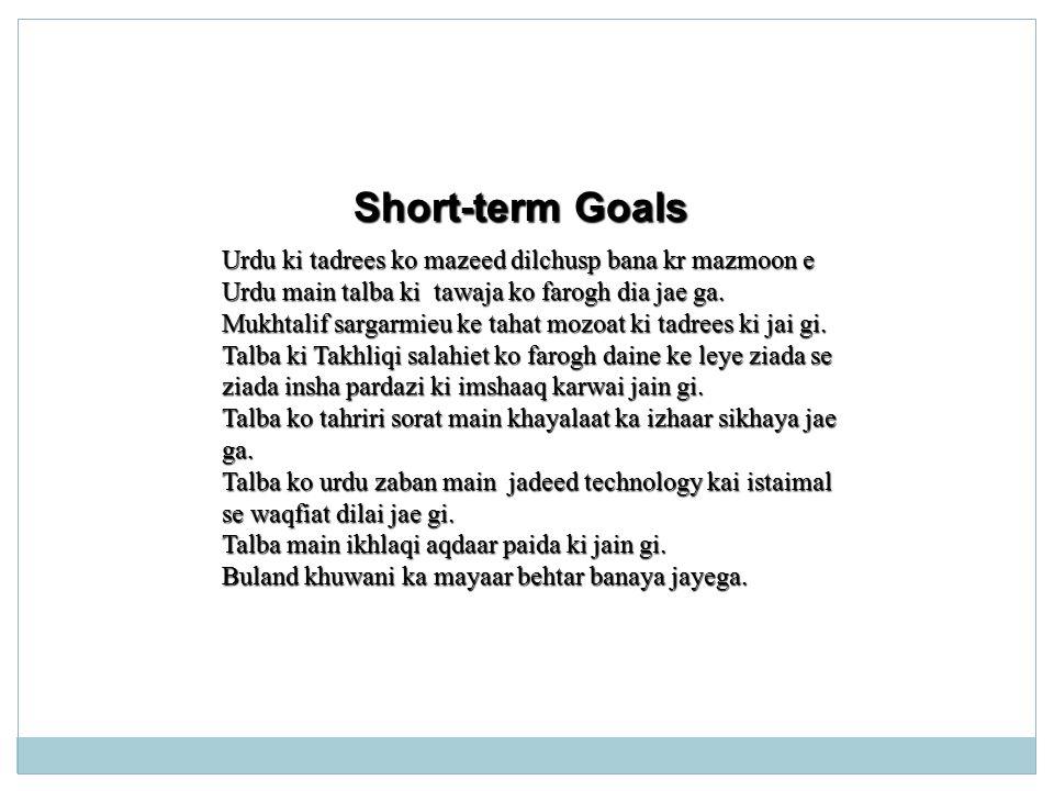 Long-term Goal Saal k ikhtetam per Talba Rawani se urdu perhnay k sath kisi bhi unwaan per tehriri kaam kernay k qabil ho jaye gay.