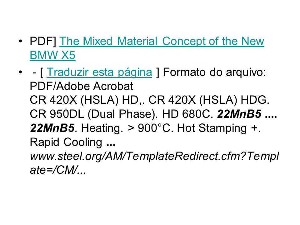 PDF] The Mixed Material Concept of the New BMW X5The Mixed Material Concept of the New BMW X5 - [ Traduzir esta página ] Formato do arquivo: PDF/Adobe Acrobat CR 420X (HSLA) HD,.