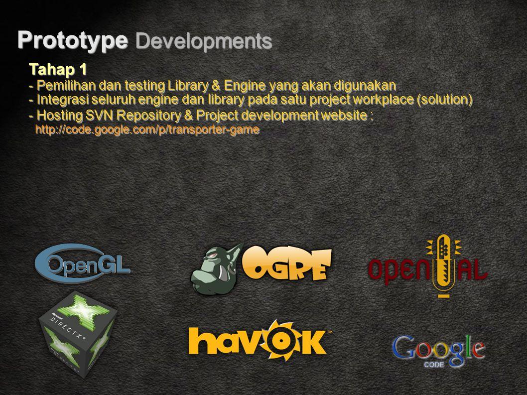 Prototype Developments Tahap 1 - Pemilihan dan testing Library & Engine yang akan digunakan - Integrasi seluruh engine dan library pada satu project workplace (solution) - Hosting SVN Repository & Project development website : http://code.google.com/p/transporter-game http://code.google.com/p/transporter-game
