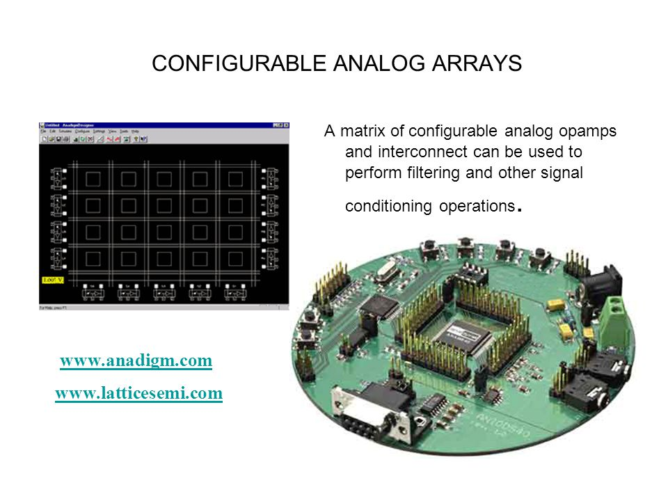 A matrix of configurable analog opamps and interconnect can be used to perform filtering and other signal conditioning operations. CONFIGURABLE ANALOG