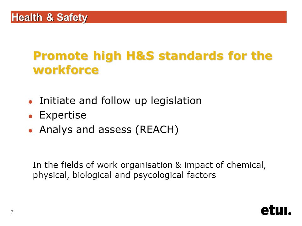 7 Health & Safety ● Initiate and follow up legislation ● Expertise ● Analys and assess (REACH) Promote high H&S standards for the workforce In the fields of work organisation & impact of chemical, physical, biological and psycological factors