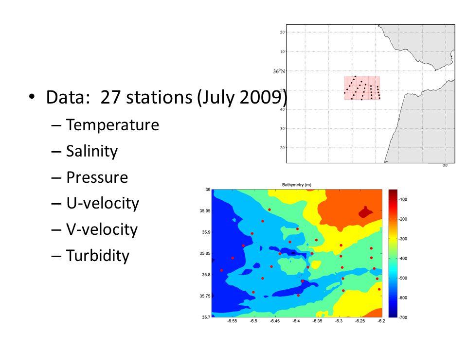 Data: 27 stations (July 2009) – Temperature – Salinity – Pressure – U-velocity – V-velocity – Turbidity
